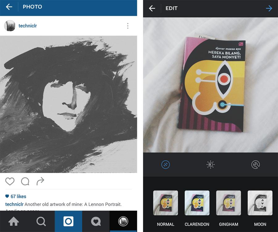 [Gambar: Tampilan antarmuka Instagram yang lama]