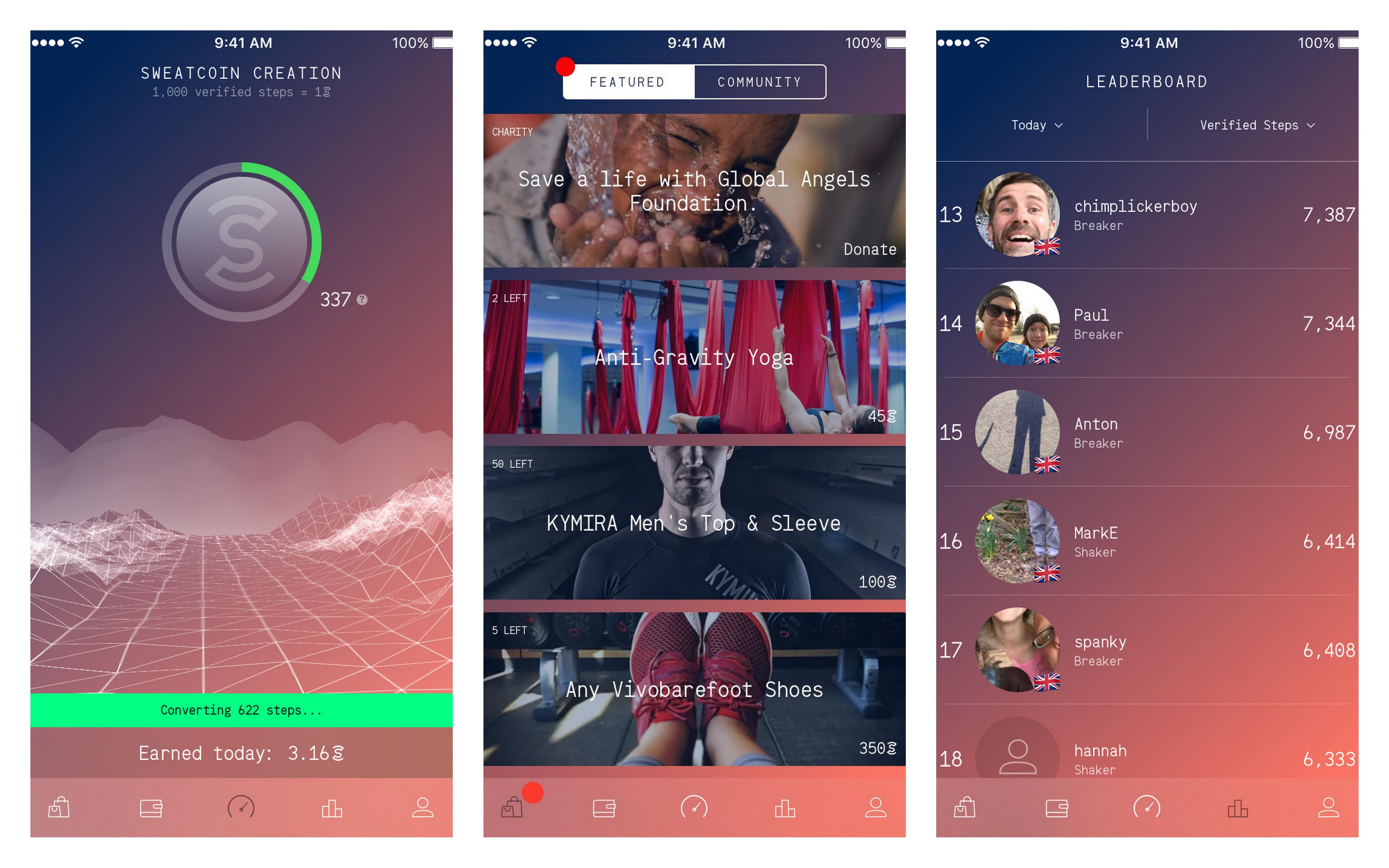 [Gambar: Screenshot tampilan aplikasi Sweatcoin | sweatco.in]