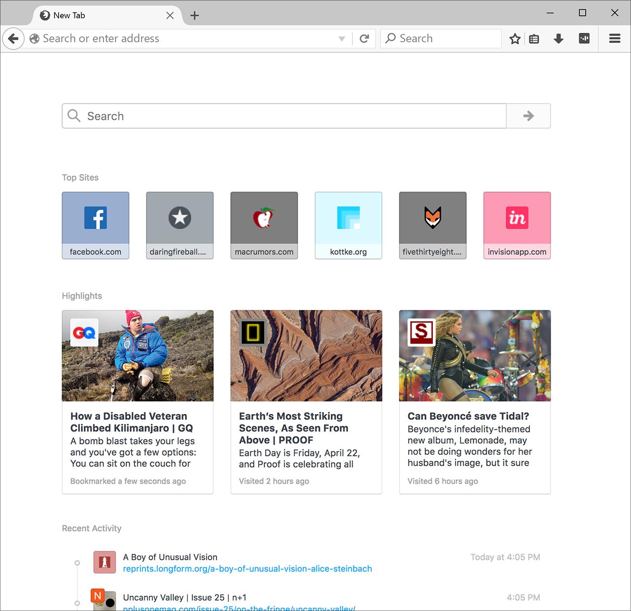 [Gambar: Tampilan fitur Activity Stream | Firefox.com]