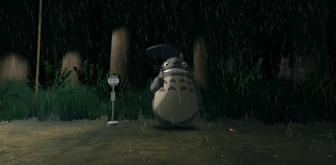 [Gambar: Adegan di pemberhentian bus dalam VR My Neighbour Totoro | via roadtovr.com]