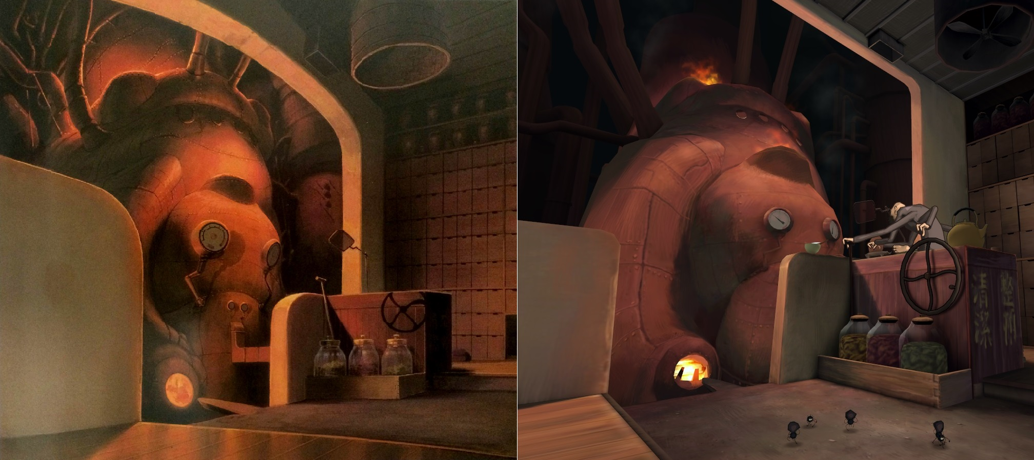 [Gambar: Screenshot dari animasi Spirited Away (kiri), dan versi virtual realitynya (kanan) | via roadtovr.com]