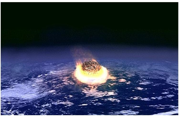 Ilustrasi asteroid raksasa menembus atmosfer Bumi [Foto: Wikimedia.org]